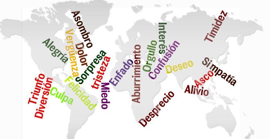 Mapa mundi de color gris claro y palabras correspondientes a diversas emociones. Sorpresa, tristeza, desprecio, enfado, alegría.